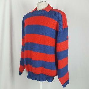 Vintage Demetre Sweater XL Stripe Pure Virgin Wool